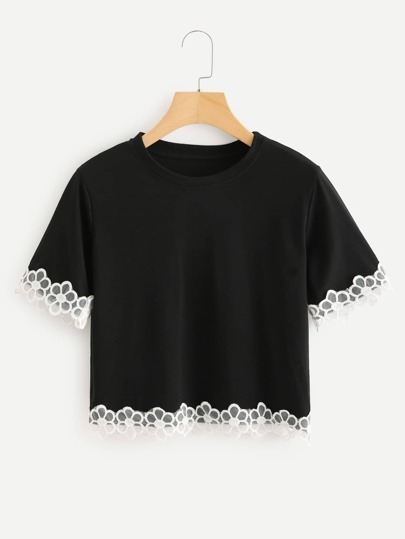 Embroidered Flower Mesh Trim Tee