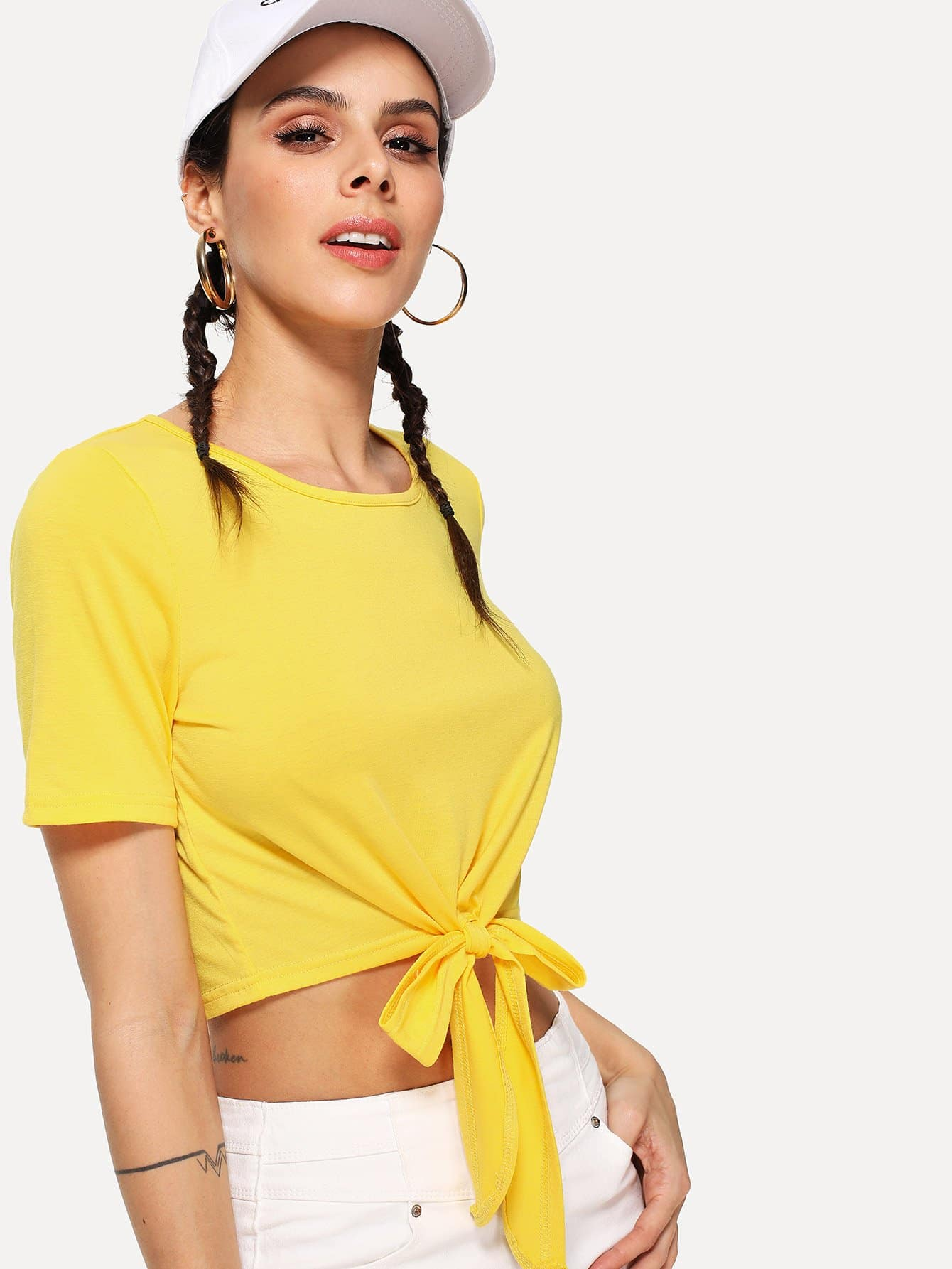 Knot Front Crop Tee striped trim knot front crop tee