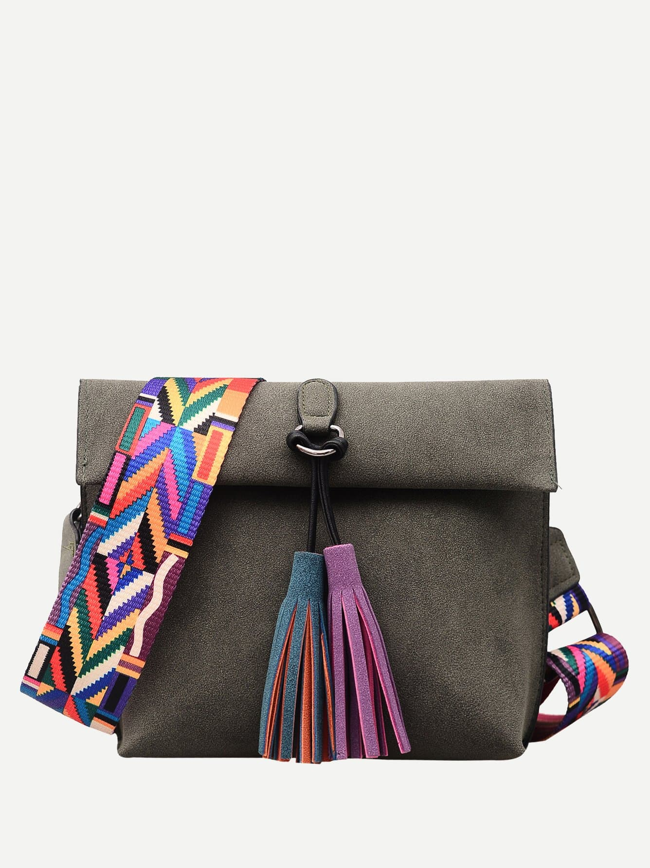 Geo Strap Tassel Decorated Roll Up Suede Bag st decorated up
