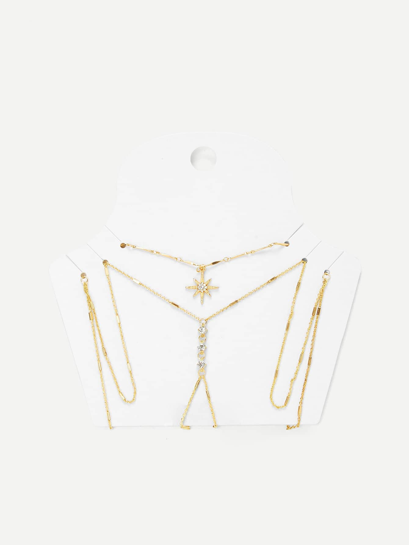Фото Rhinestone Detail Chain Body Harness With Necklace
