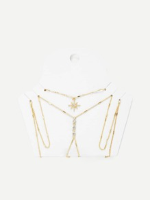 Rhinestone Detail Chain Body Harness With Necklace