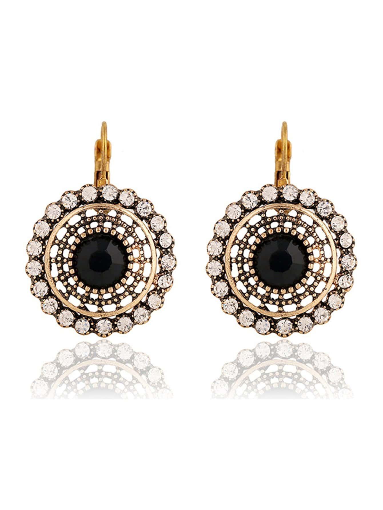 Rhinestone Clip On Earrings