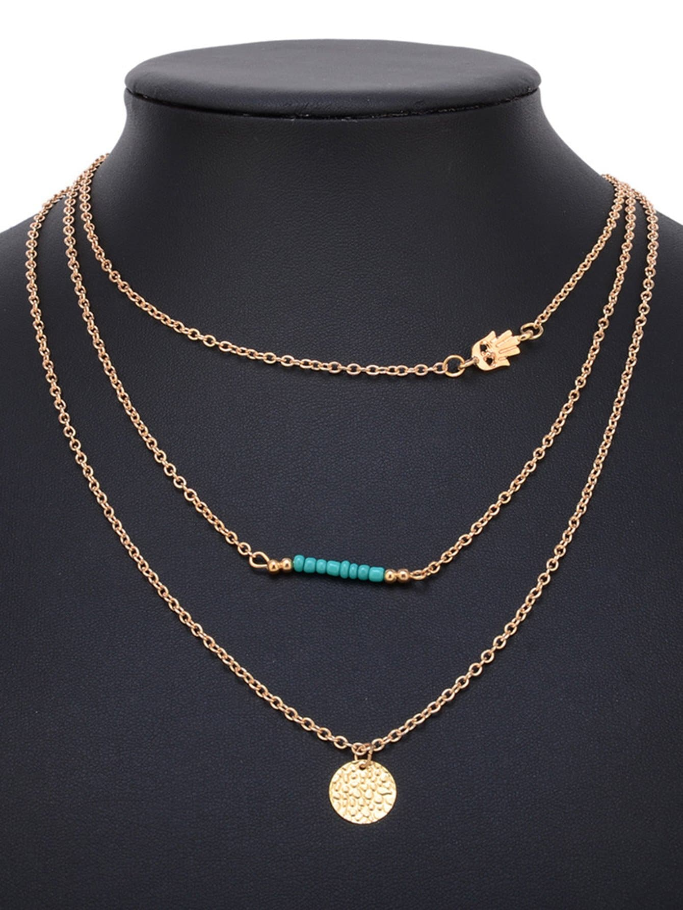 Flat Disc Multi Layer Necklace