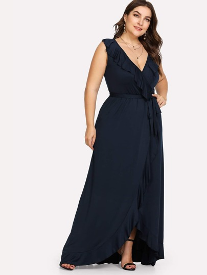 Deep V Neck Ruffle-Split Hem Knot Dress