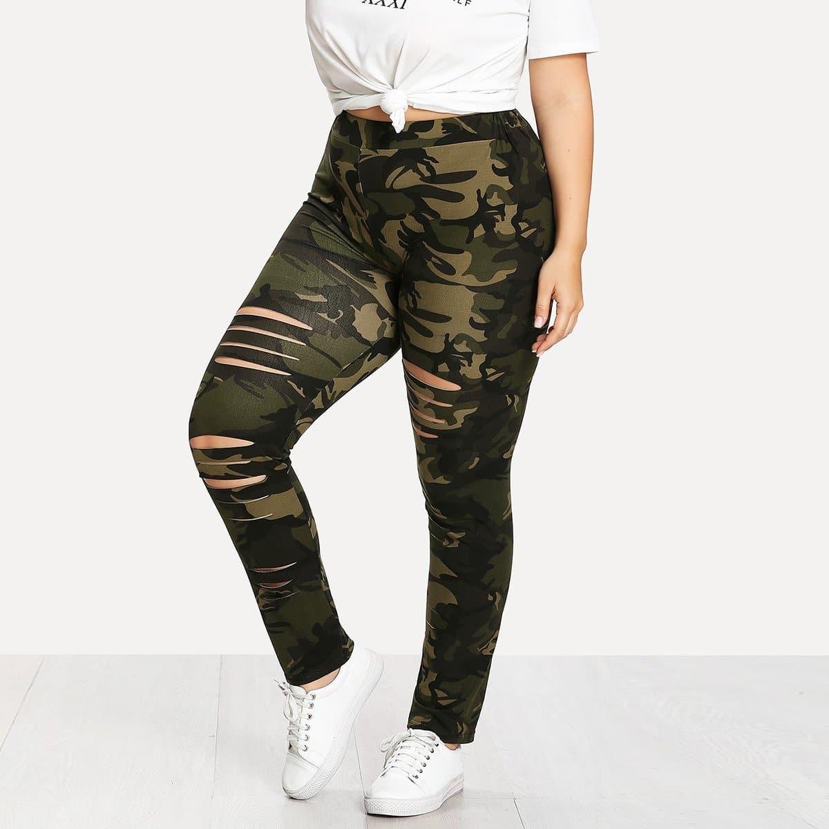 Plus Gescheurde Legging met Camouflage Print