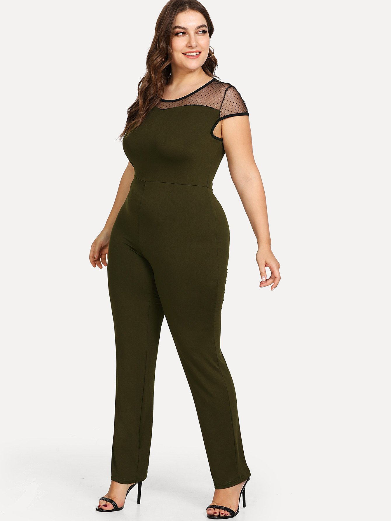 Contrast Mesh Sheer Detail Jumpsuit cold shoulder contrast sheer mesh jumpsuit