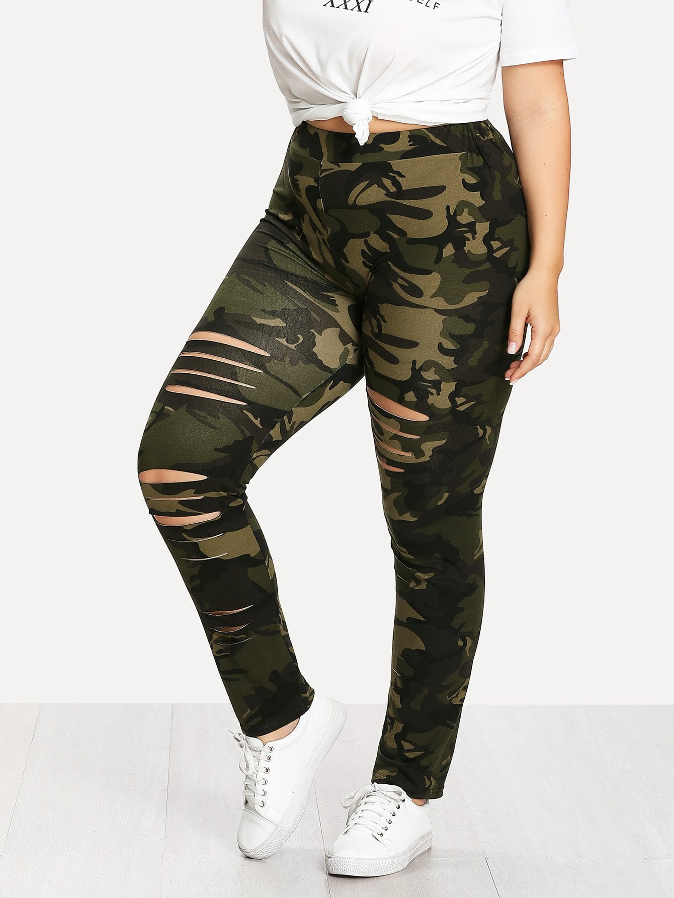 Plus Camouflage Ladder Ripped Legging