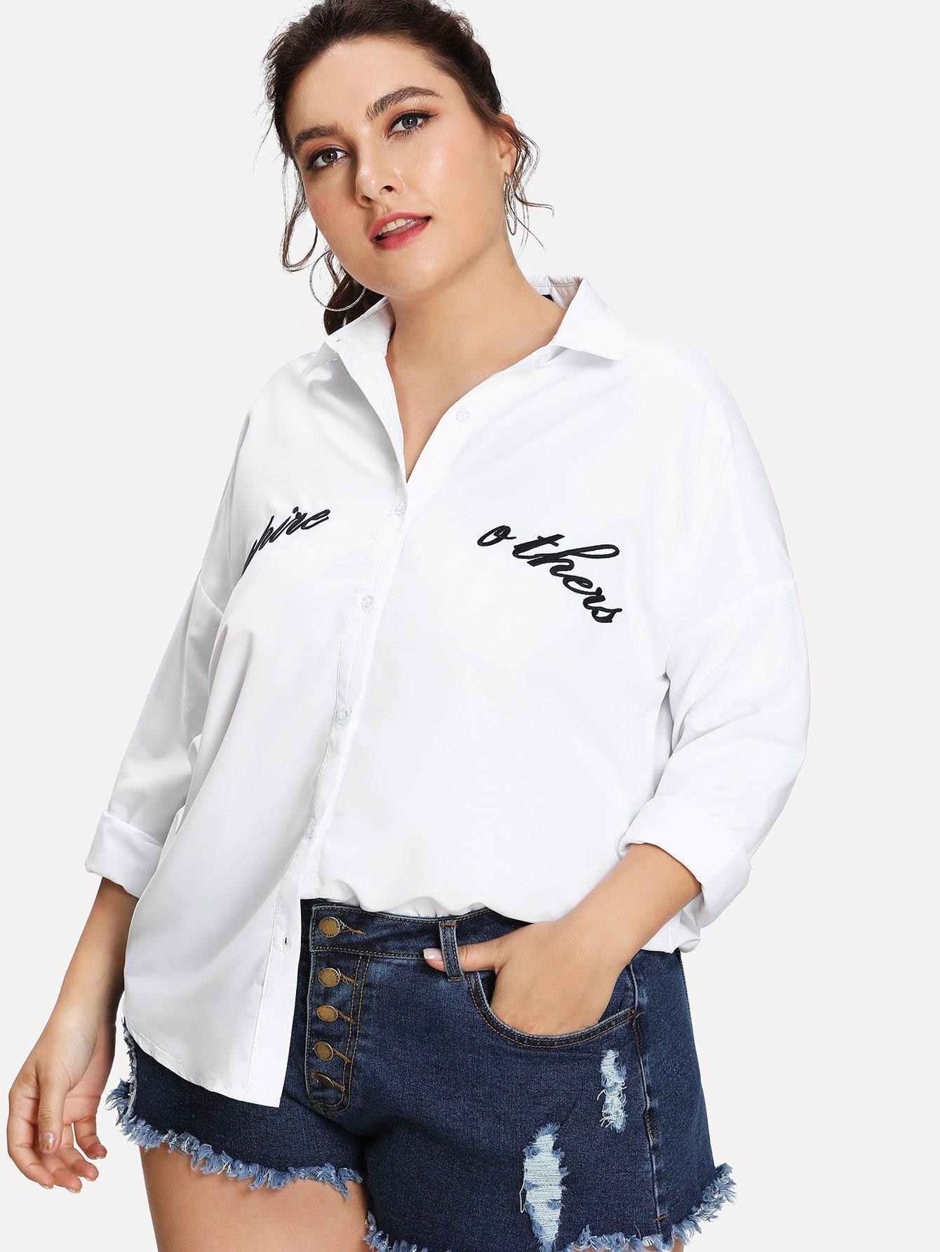 Drop Shoulder Letter Embroidered Shirt rose embroidered drop shoulder denim shirt