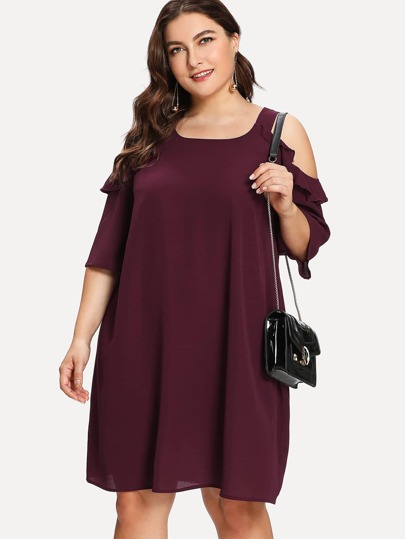 Flounce Cold Shoulder Dress