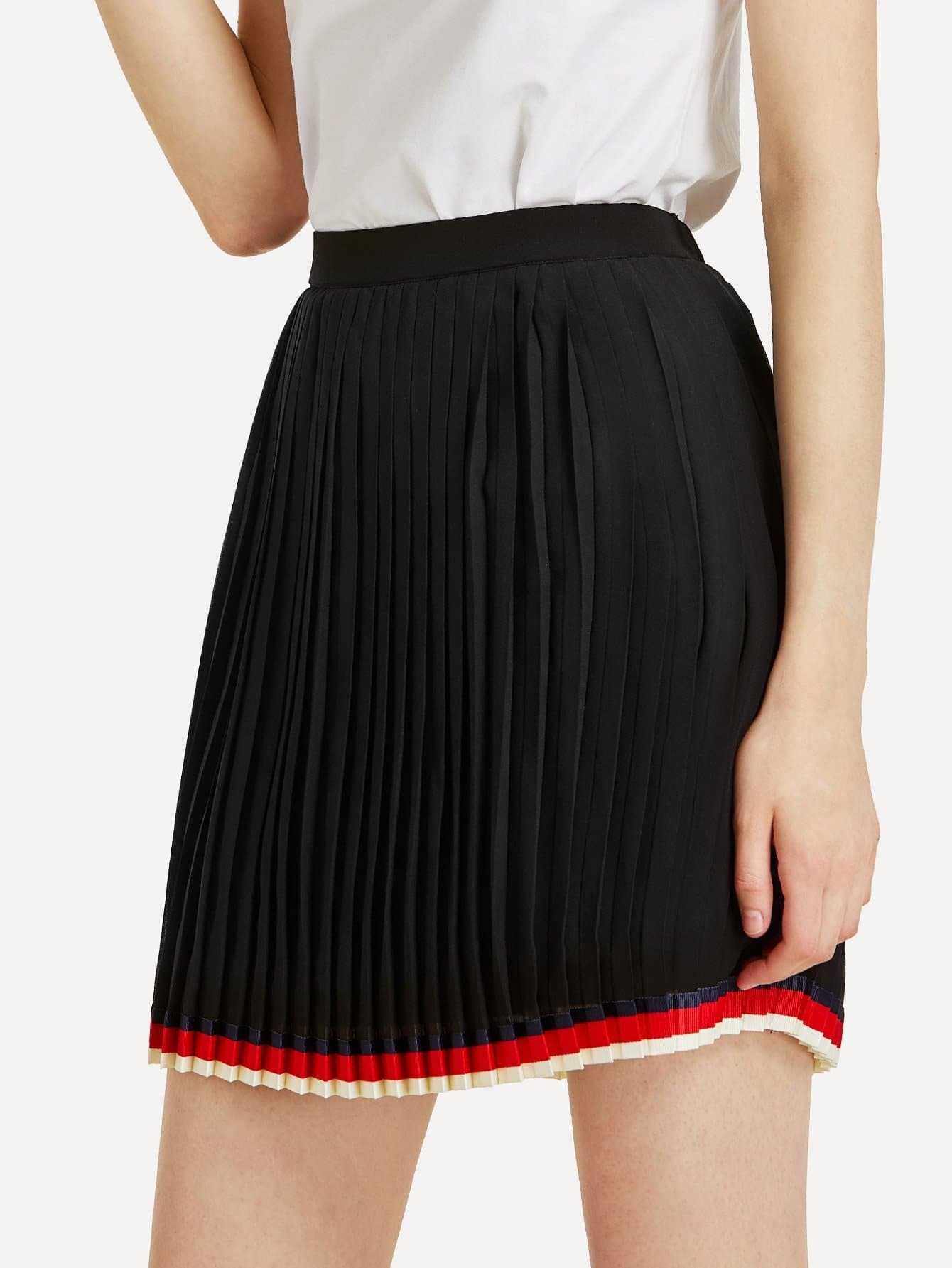 Striped Hem Pleated Skirt multi striped skirt