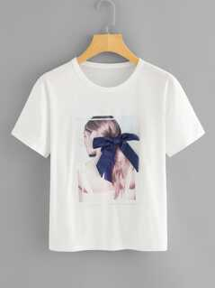 Bow Embellished Graphic Tee