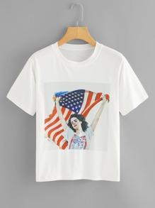 Figure Print Short Sleeve T-shirt