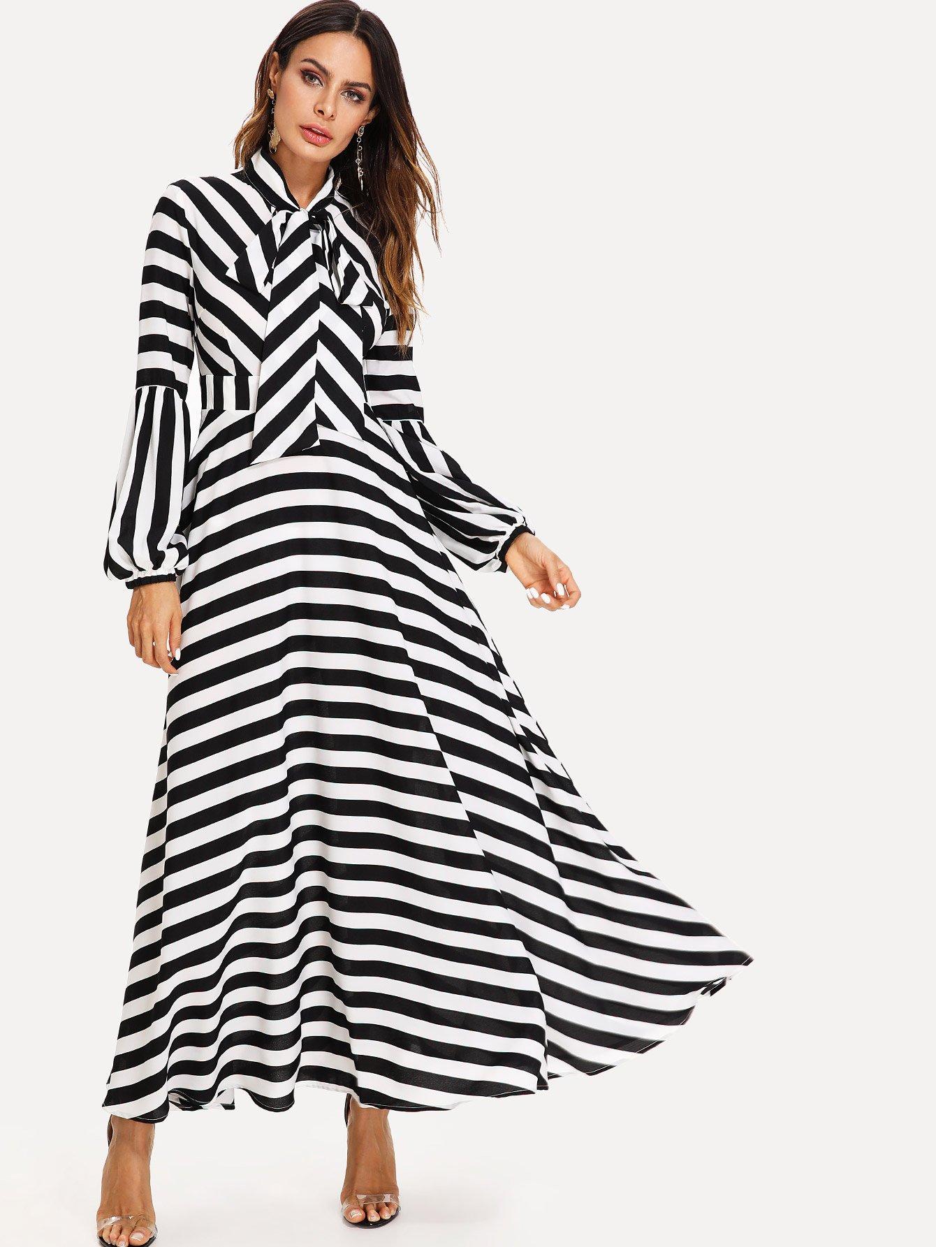 Bishop Sleeve Tied Neck Striped Flare Dress bishop sleeve tied neck striped flare dress