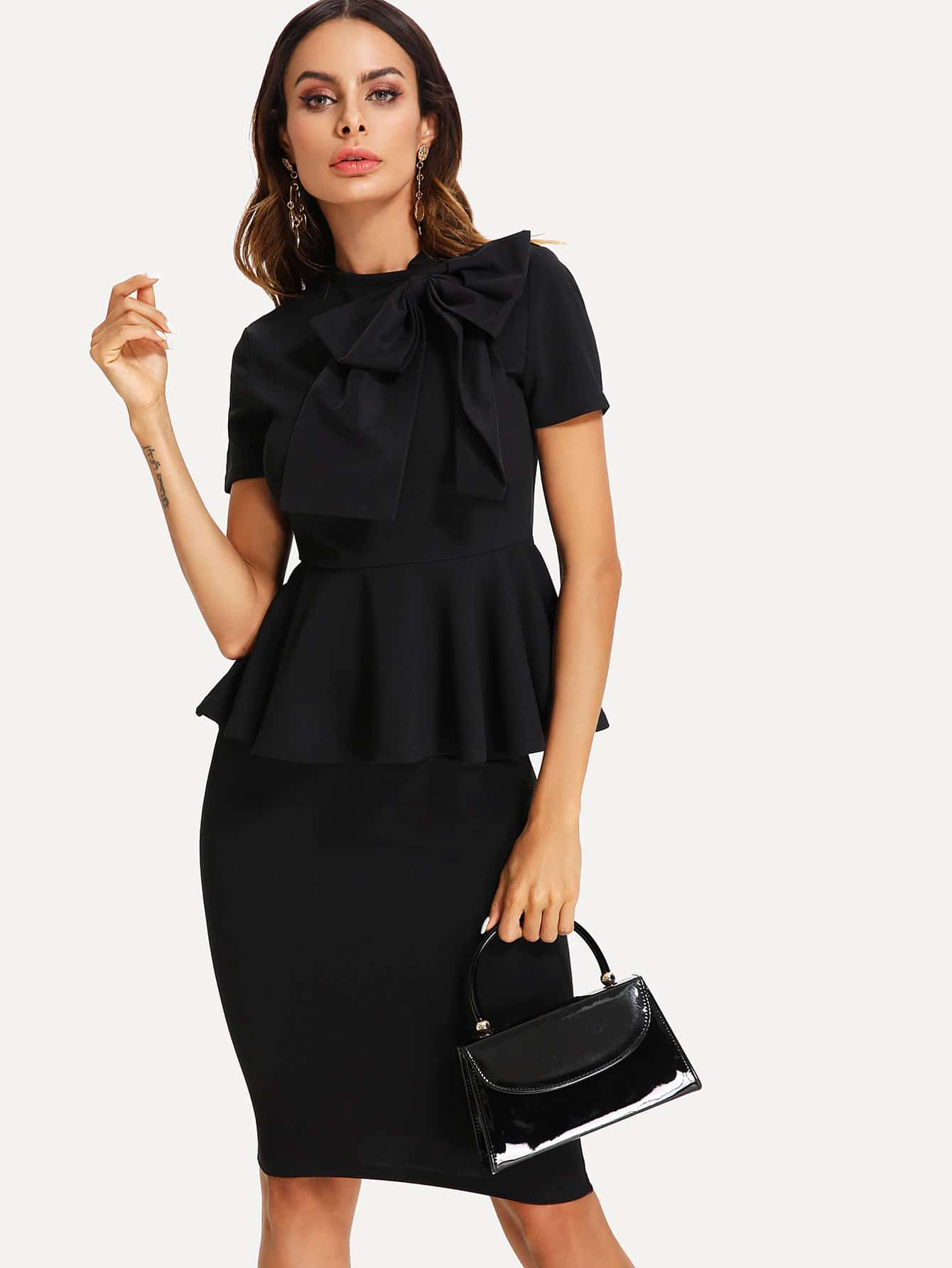 Bow Tied Neck Peplum Top And Pencil Skirt Set bow embellished peplum pencil dress