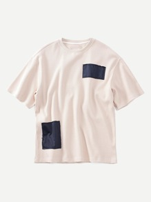 Men Patched Ribbed Tee ROMWE