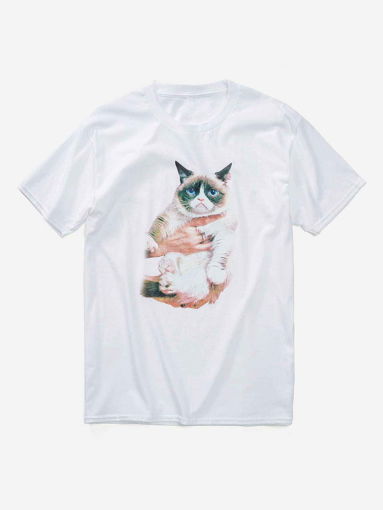 Men Cat Print Tee cat print striped tee