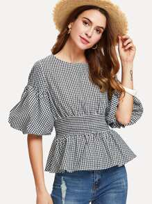 Pleated Waist Ruffle Hem Checked Top