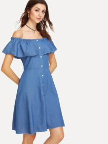 Denim Off Shoulder Single Breasted Dress