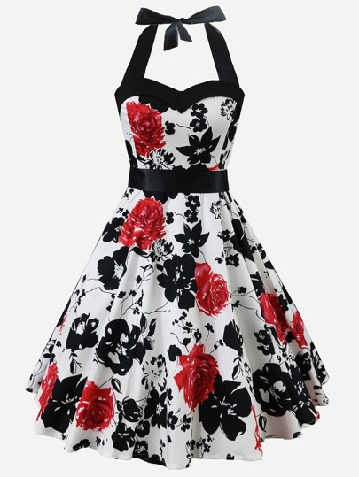 Floral Print Sweetheart Neck Halter Dress