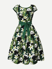 Panda Print Self Tie Waist Dress