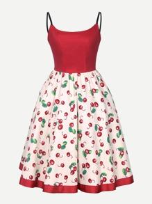 Cheery Print Zip Up Back Cami Dress