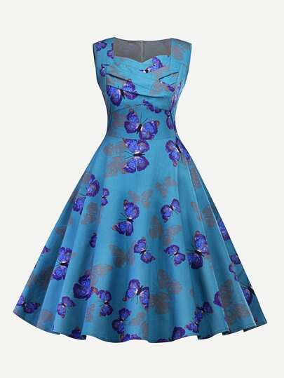 Butterfly Print Sweetheart Neck Dress