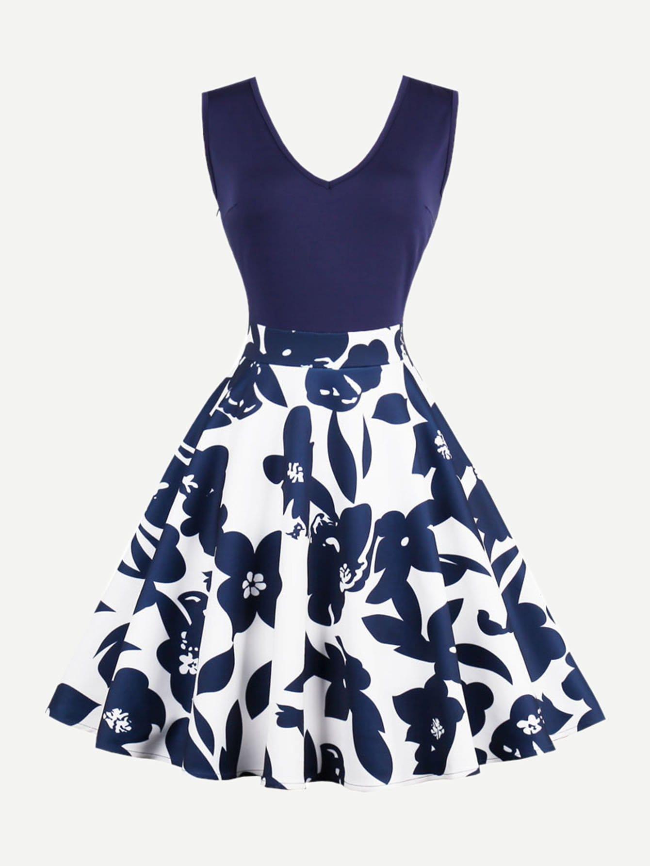 V Neckline Floral Print Zip Up Side Dress zip up side plaid dress