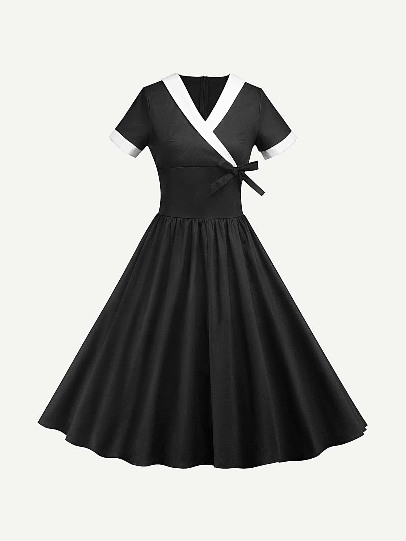 Contrast Trim Knot Detail Dress женские блузки и рубашки v blusa cs7457