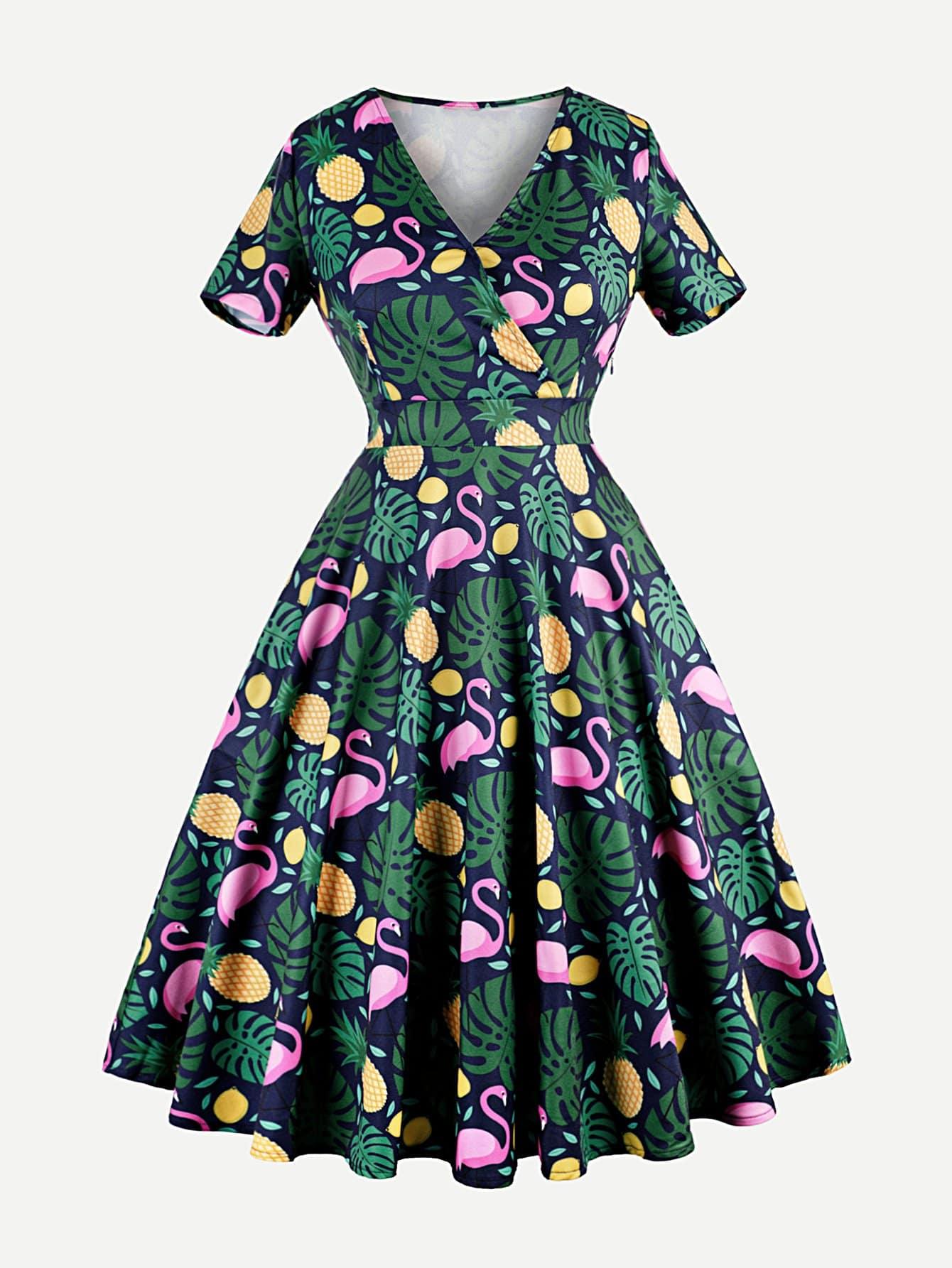 Купить Платье с запахом и принтом ананаса, null, SheIn