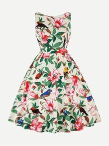 Floral Print Knot Back Dress