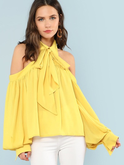Open Shoulder Bow Tied Neck Blouse