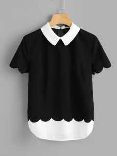 Scalloped Trim 2 in 1 Blouse