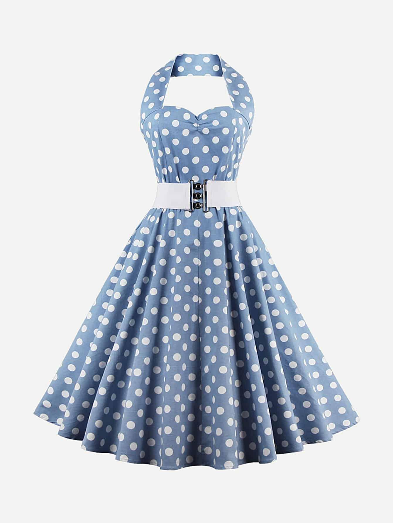 Sweetheart Neck Spot Halter Dress dress180409373
