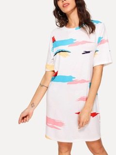 Brush Stroke Print Tunic Dress