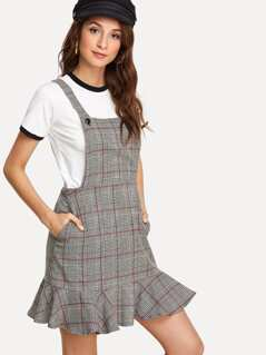Ruffle Hem Plaid Pinafore Dress