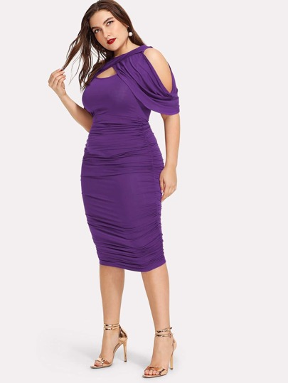 Overlap Cold Shoulder Ruched Pencil Dress
