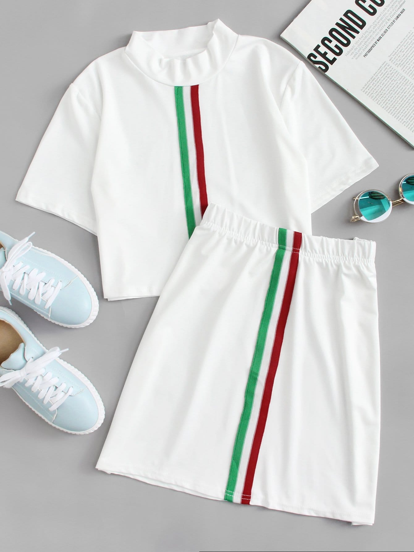 Stand Neck Striped Tape Tee With Skirt