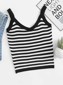 Striped Knit Cami Top