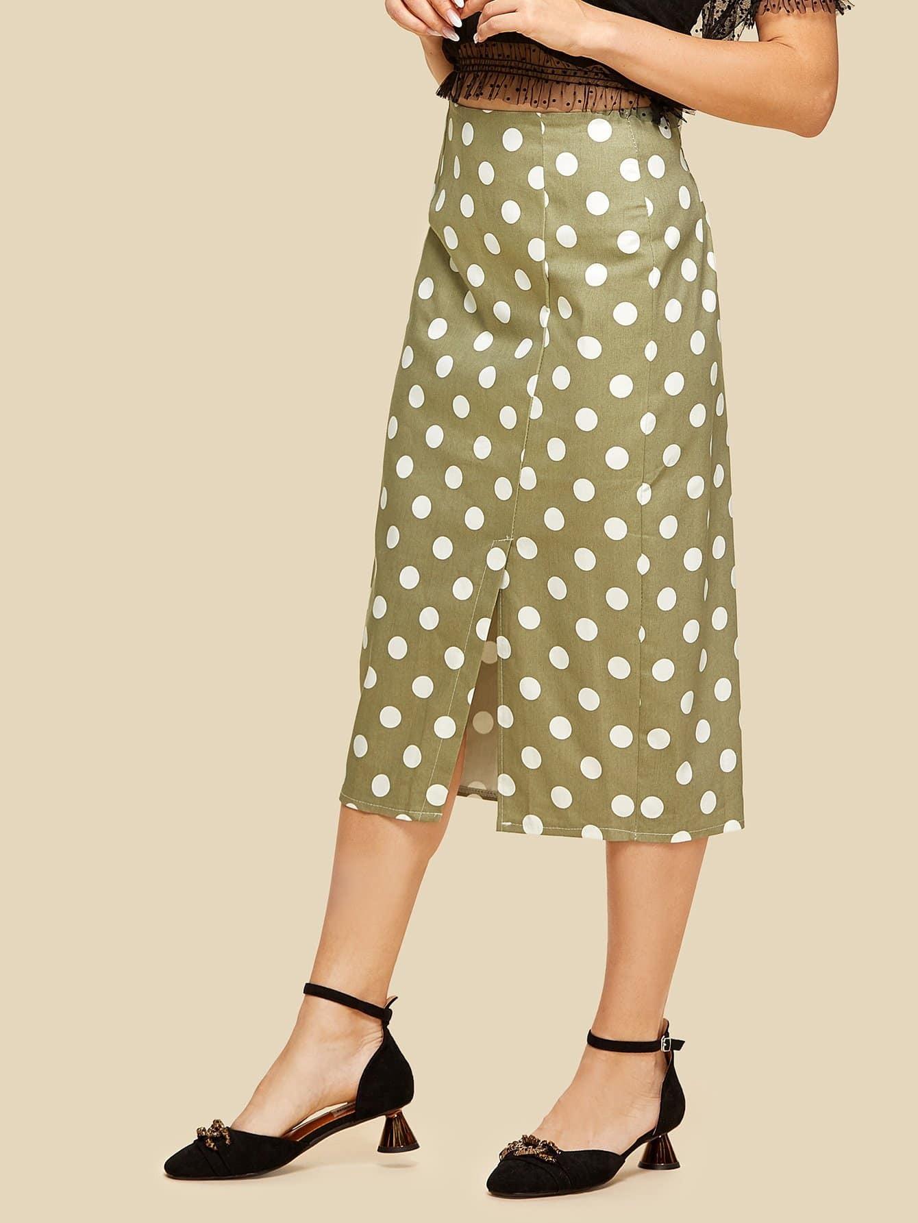 Pleated Back Polka Dot Split Hem Skirt split back plaid skirt