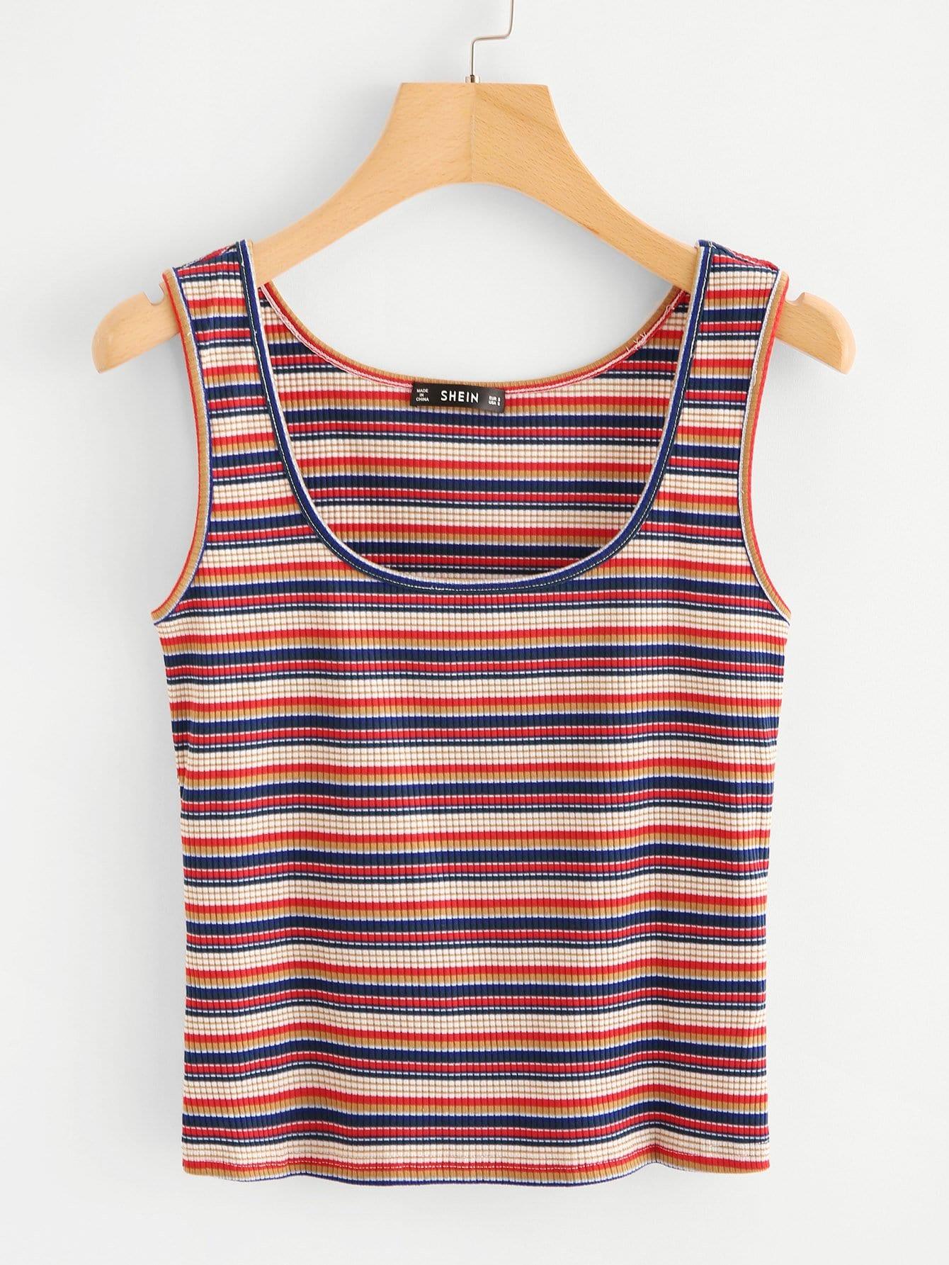 Striped Rib Knit Top rib knit halter top