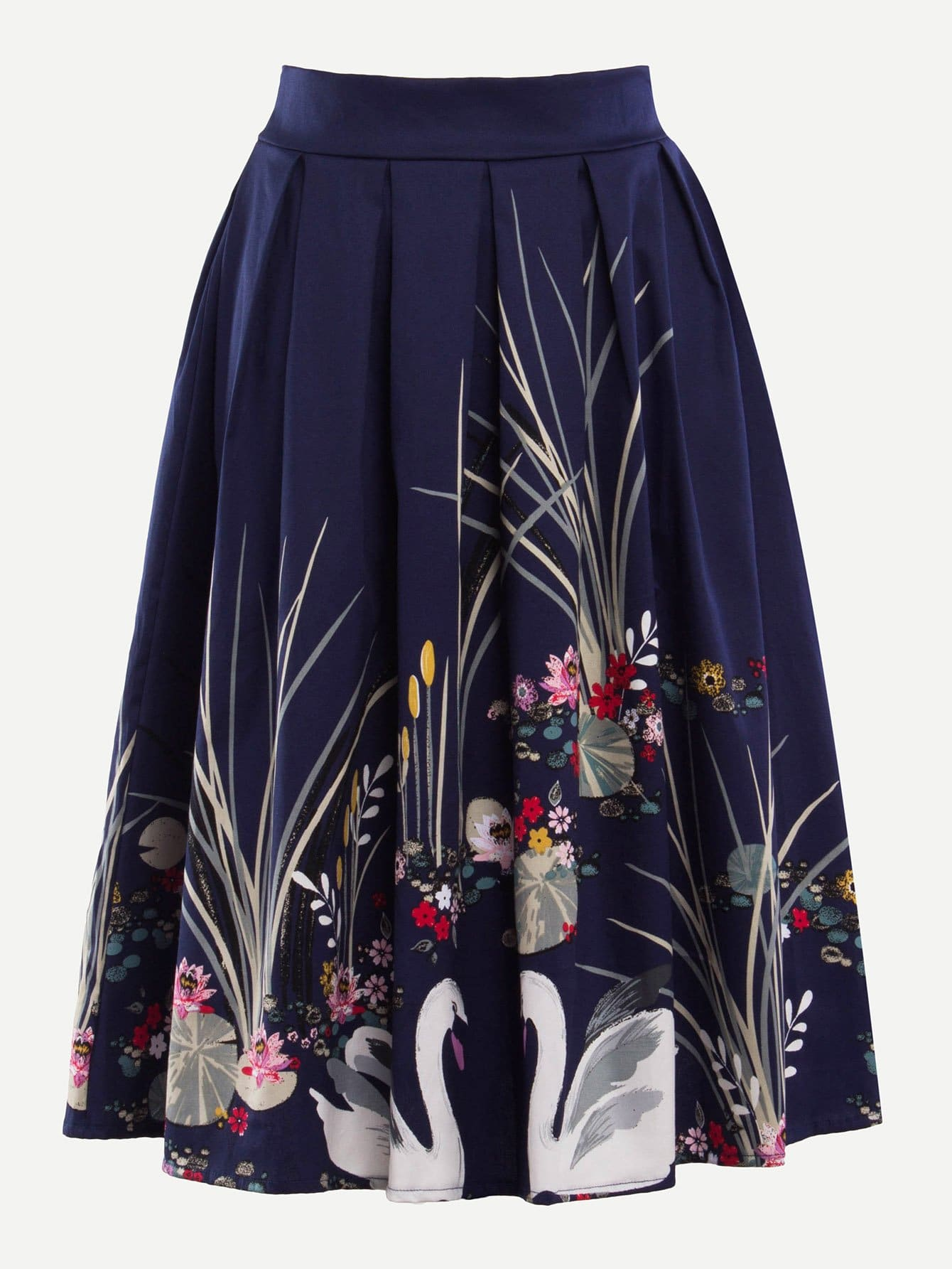 Floral Print Zip Up Pleated Skirt