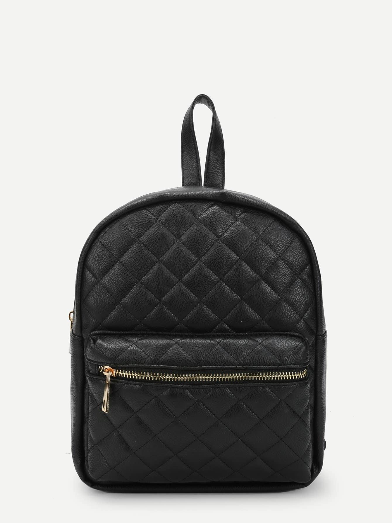 Quilted Pocket Front Backpacks Bag heart decor zipper front backpacks bag