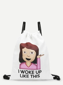 Slogan & Figure Print Backpacks Bag