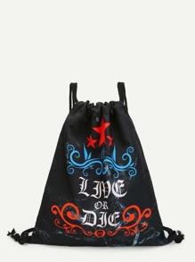 Slogan Print Drawstring Backpack