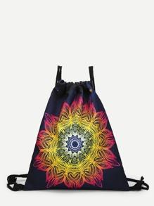 Gradient Lotus Drawstring Backpack
