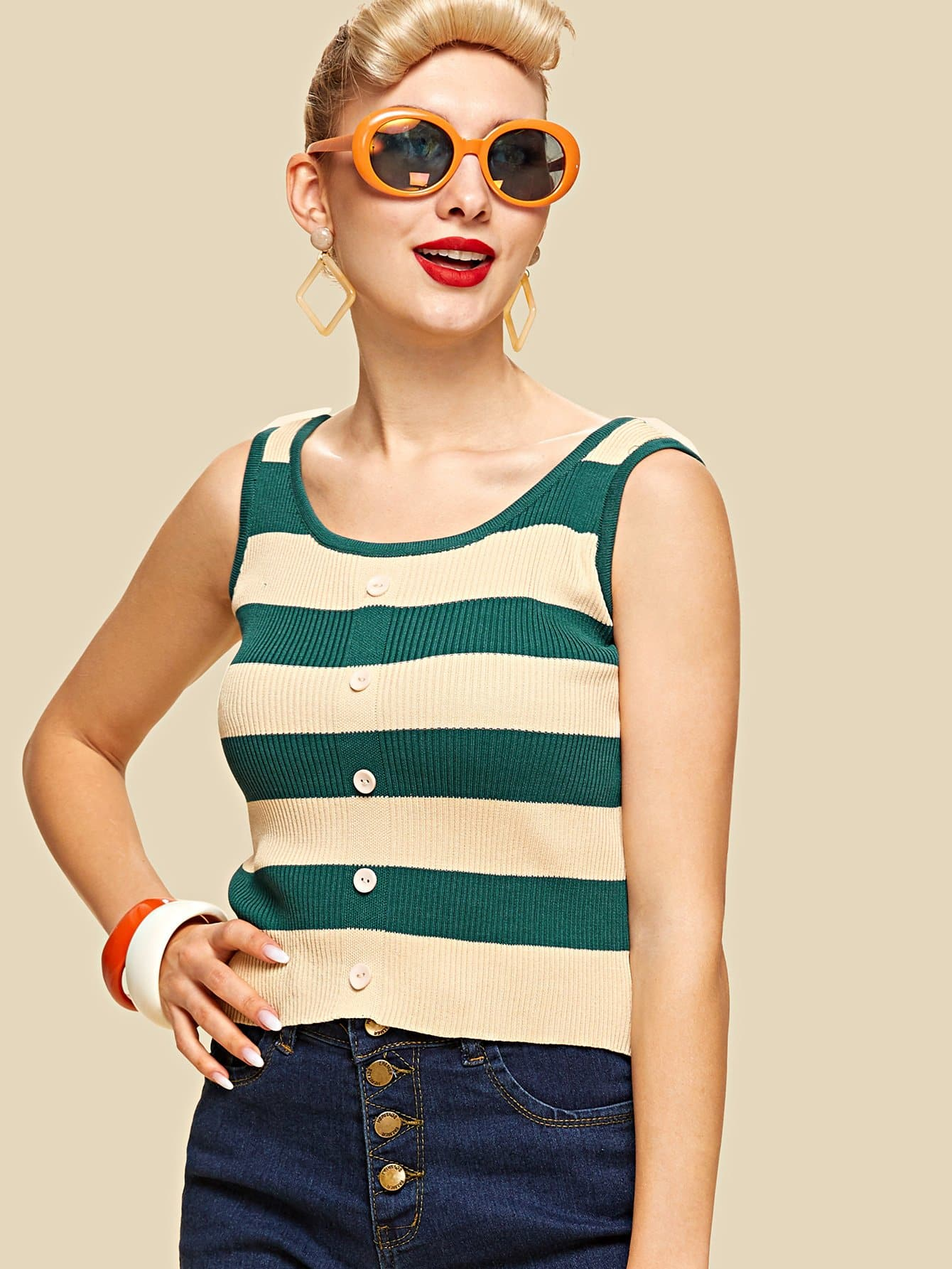 Single Breasted Striped Knit Top