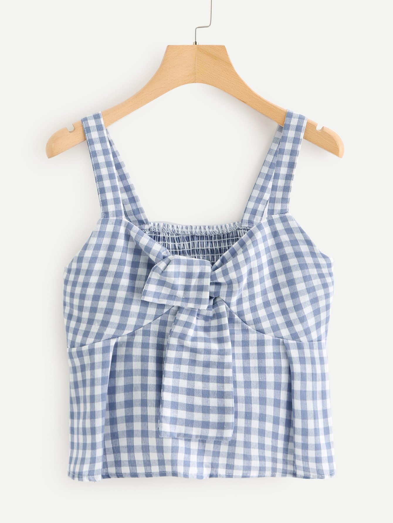 Knot Front Checked Cami Top