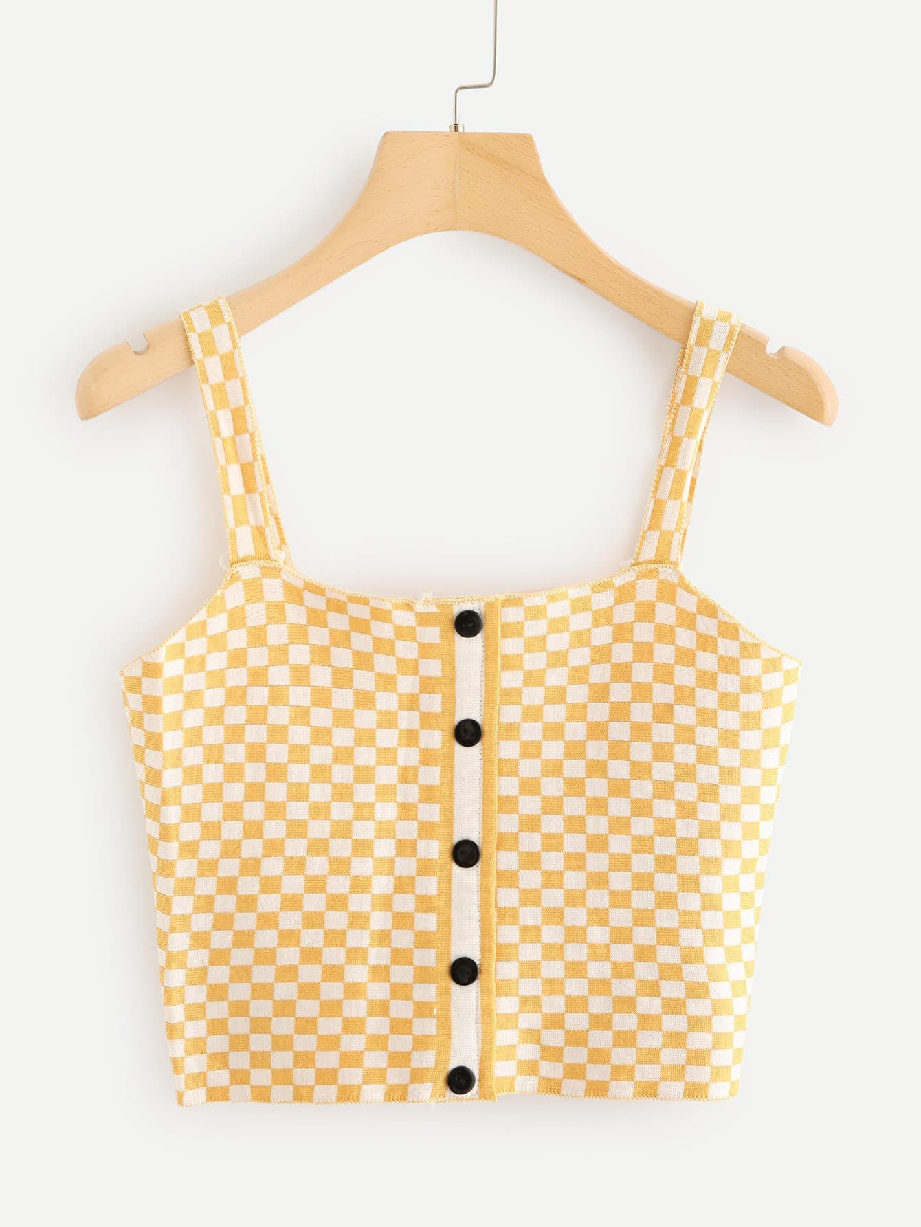 Single Breasted Checked Knit Top