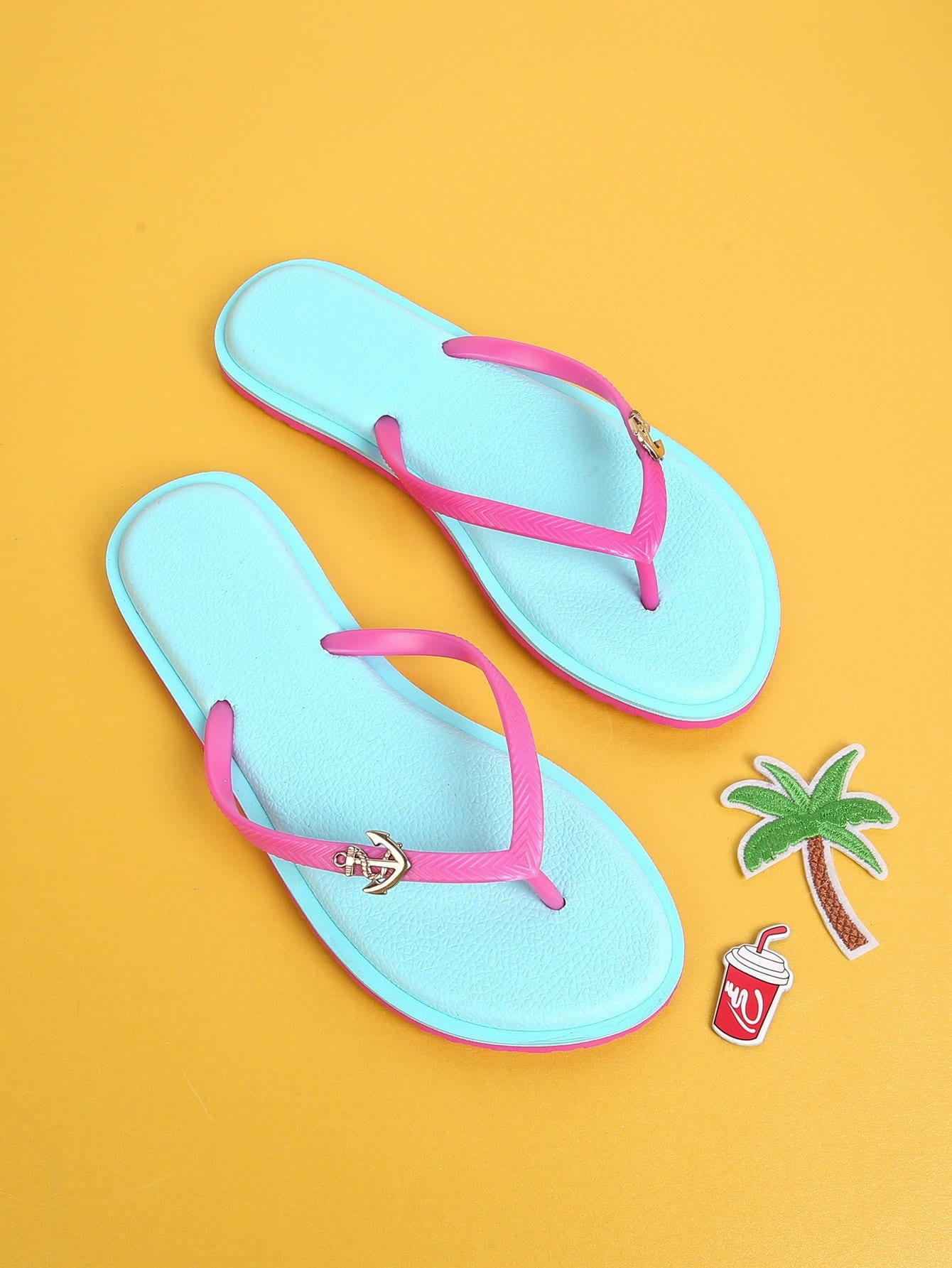 Charm Detail Flip Flop Sandals flip flop shaped stationery box 1pc