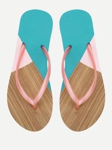 Color Block Flip Flops